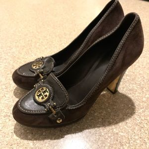 Tory Burch Joan brown suede heels women's 7.5